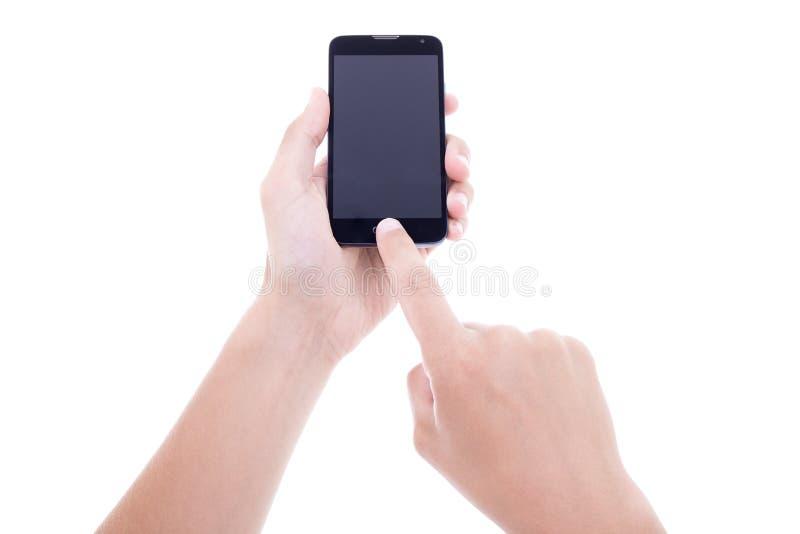 拍与流动巧妙的电话的男性手照片有空白的scree的 图库摄影