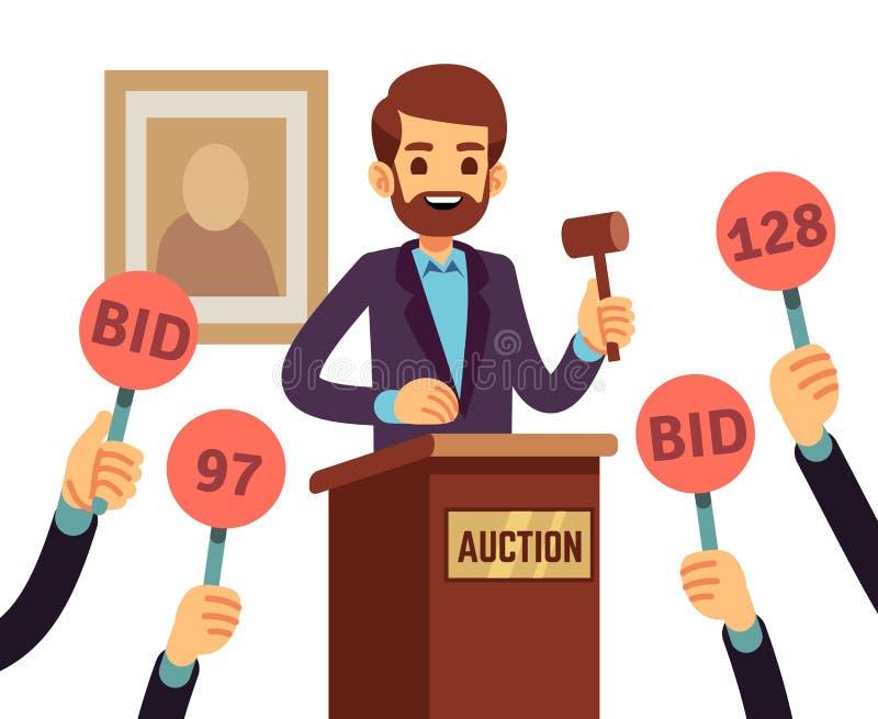 拍卖与握惊堂木和人们被举的手有出价的桨传染媒介概念的人 库存例证
