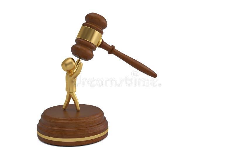 拍卖有金人的锤子白色背景的 3d例证 皇族释放例证