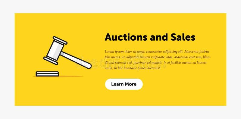 拍卖锤子例证 关于新的出价的公告 万维网横幅 平的样式设计 库存例证