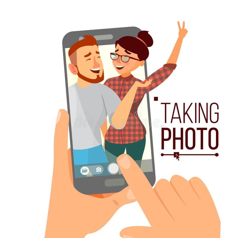 拍在智能手机传染媒介的照片 人微笑 采取垂直的Selfie的现代朋友 背景银行现有量藏品注意smartphone 向量例证