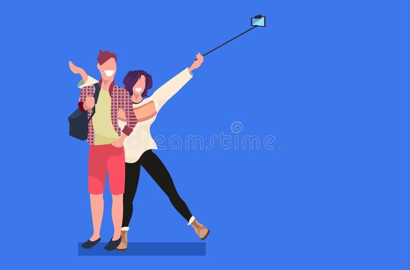 拍在智能手机照相机人妇女的夫妇selfie照片一起站立平展摆在母公的卡通人物 皇族释放例证