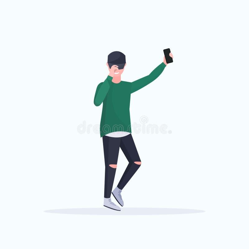 拍在智能手机照相机偶然公卡通人物的人selfie照片摆在平展全长白色的背景 皇族释放例证