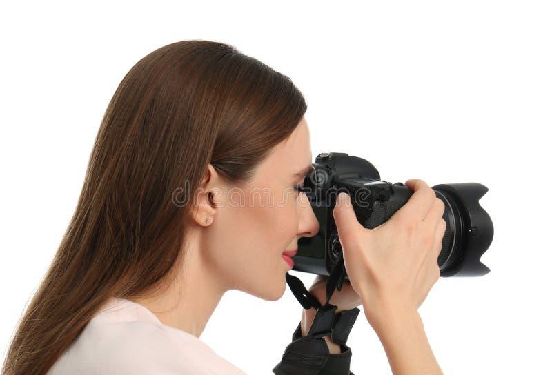 拍在白色的专业摄影师照片 免版税图库摄影