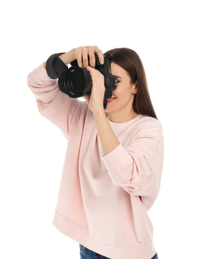 拍在白色的专业摄影师照片 免版税库存照片