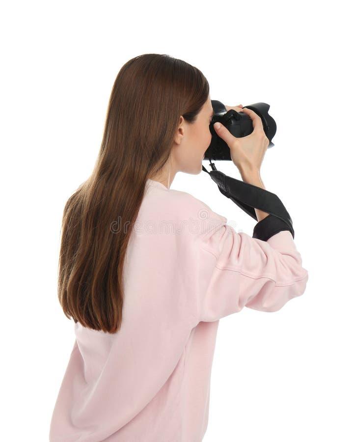 拍在白色的专业摄影师照片 库存图片