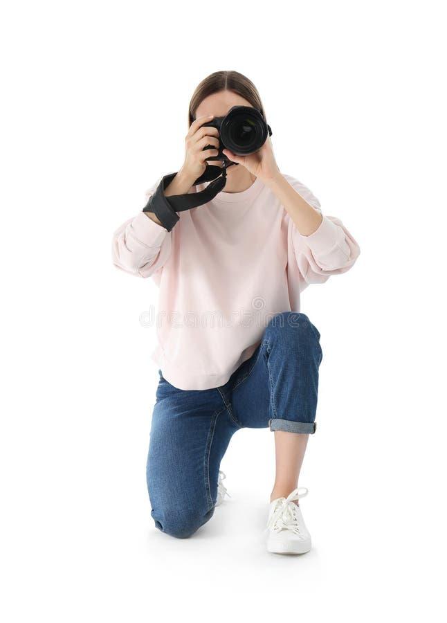 拍在白色的专业摄影师照片 库存照片
