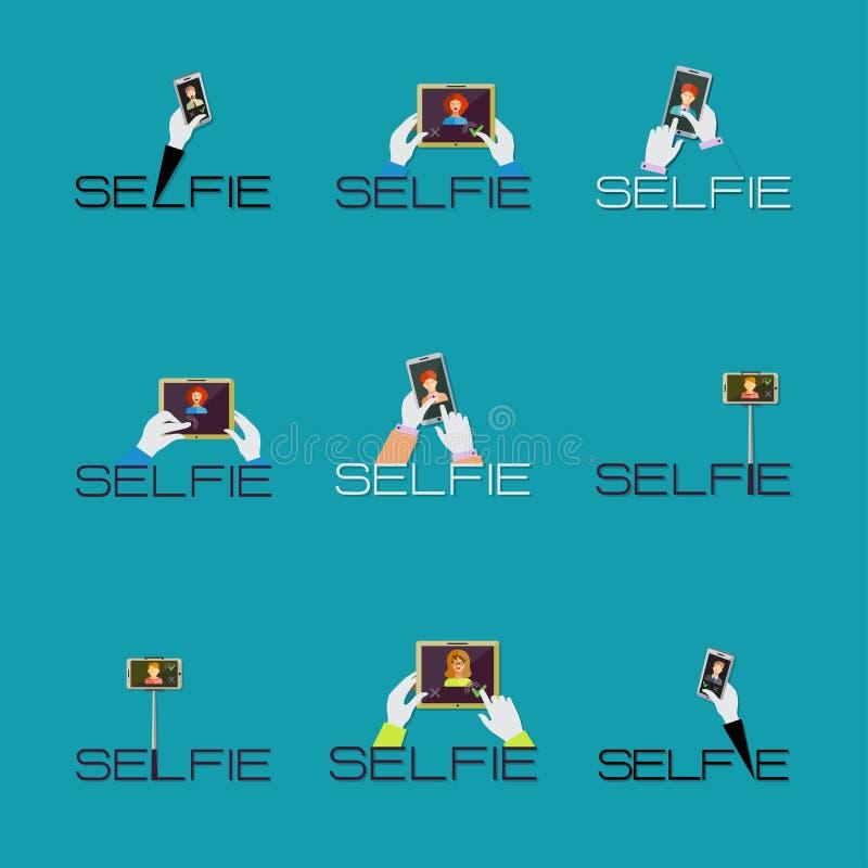 拍在聪明的电话或片剂概念的Selfie照片商标或ico 库存例证