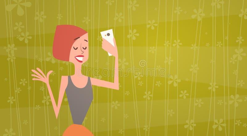 拍在细胞巧妙的电话年轻动画片妇女微笑的女孩Selfie照片 库存例证