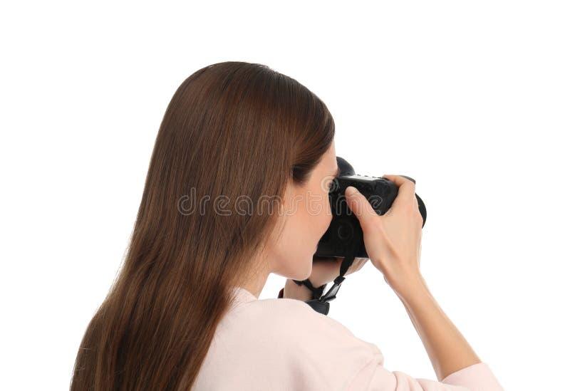 拍在whitebackground的专业摄影师照片 免版税库存照片