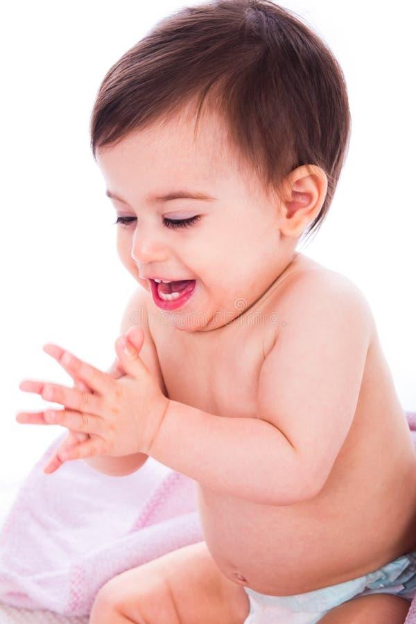 拍手的婴孩享受现有量 免版税库存照片