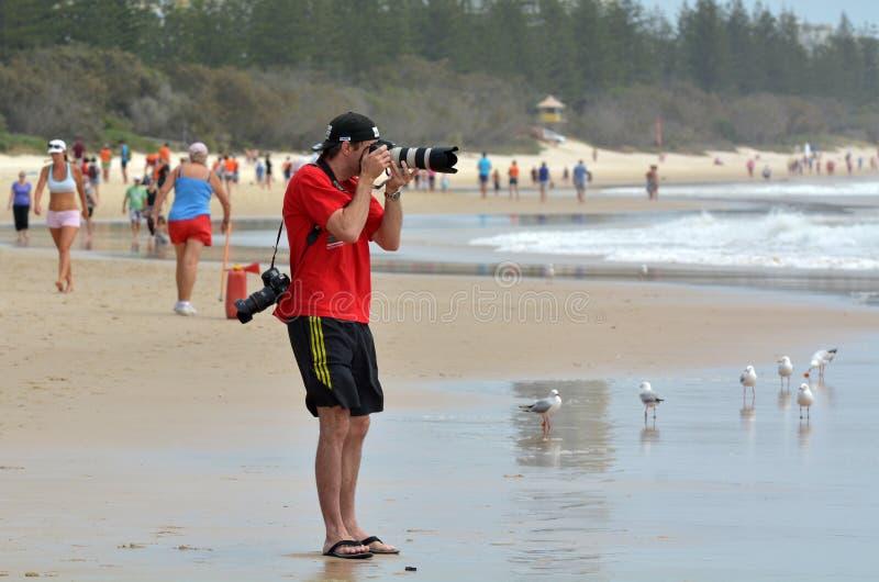 拍摄在海滩的体育摄影师 免版税库存照片
