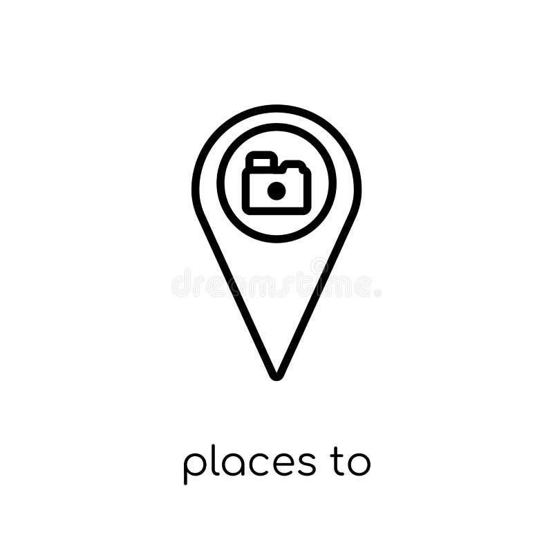 拍摄象的地方 时髦现代平的线性传染媒介Plac 库存例证