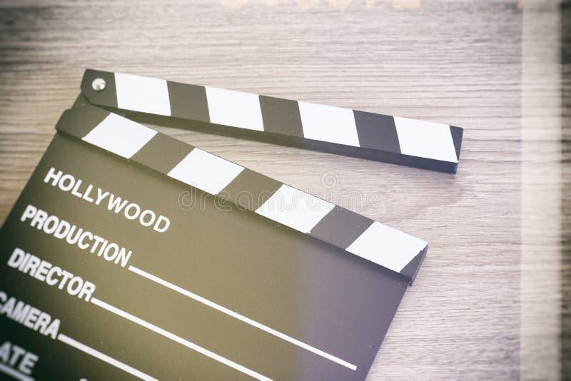 拍板,在木头的电影拍板 库存图片