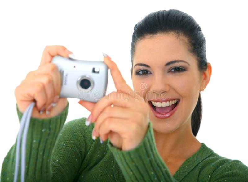 拍照妇女 免版税库存图片