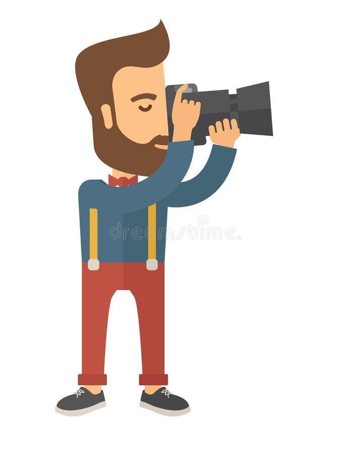 拍照片的摄影师 库存例证