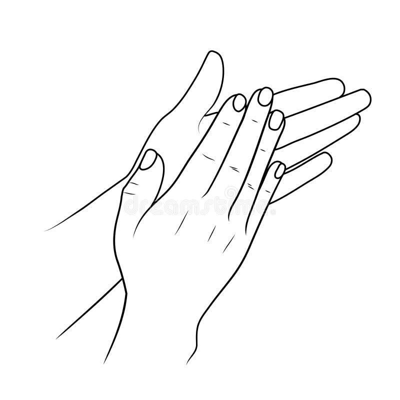 拍的手或赞许的,线性例证或者剪影由黑冲程 库存例证