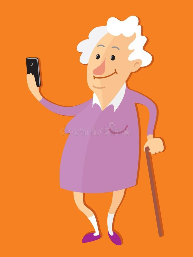 拍selfie照片的老妇人 向量例证