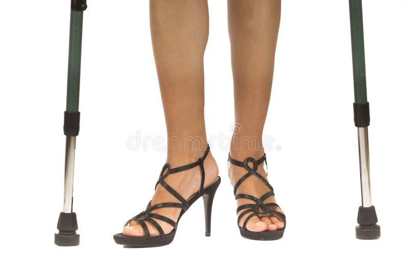 拐杖的妇女 库存照片