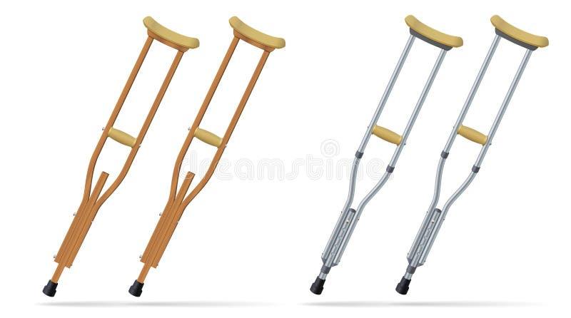 拐杖 医疗现实对象 人的治疗和修复以腿伤 向量 库存例证