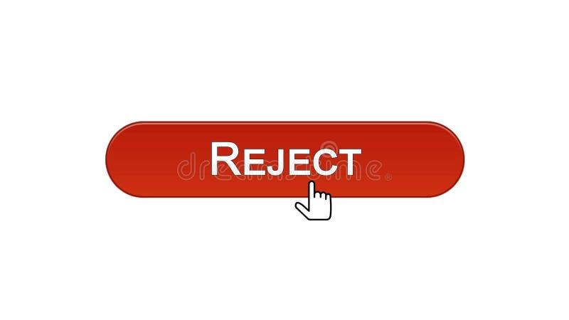 拒绝网接口按钮点击与老鼠游标,葡萄酒红,被否认的通入 库存例证