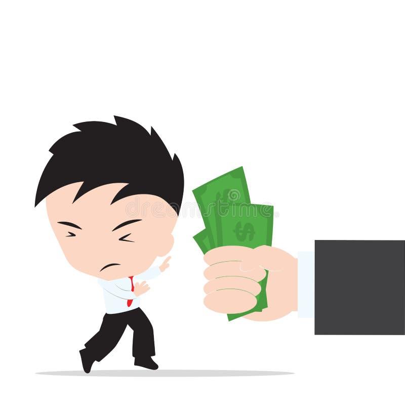 拒绝的商人在白色背景,在平的设计的例证传染媒介的提议贿款 库存例证