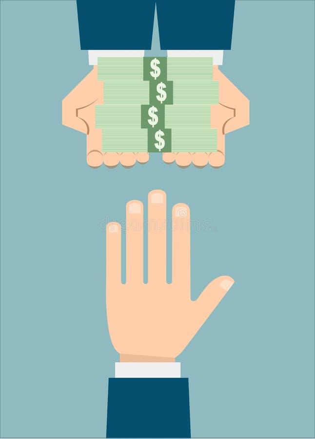 拒绝的商人被提供的贿款 向量例证