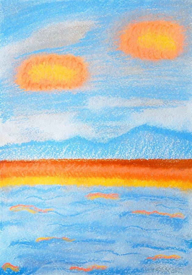 拒绝细致的金亲切的海运海浪 抽象颜色软的淡色绘画 库存例证
