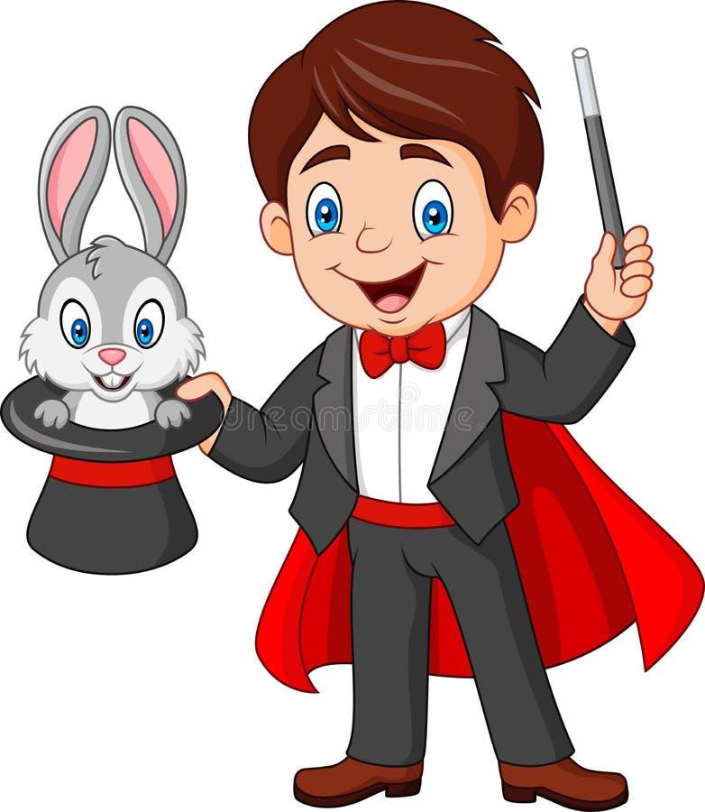 拔出从他的高顶丝质礼帽的魔术师一只兔子 库存例证