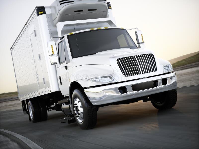 拖拉在路下的普通被冷藏的货物卡车物品有行动迷离的 皇族释放例证