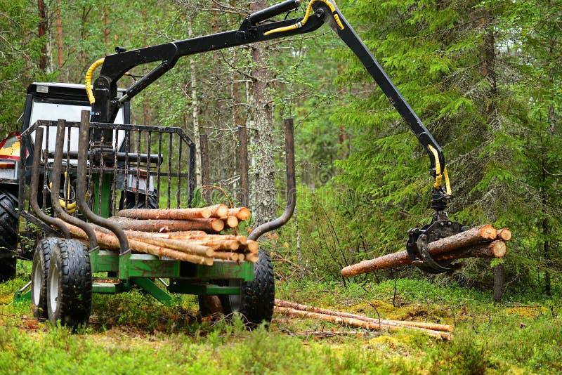 拖拉机在森林里 图库摄影