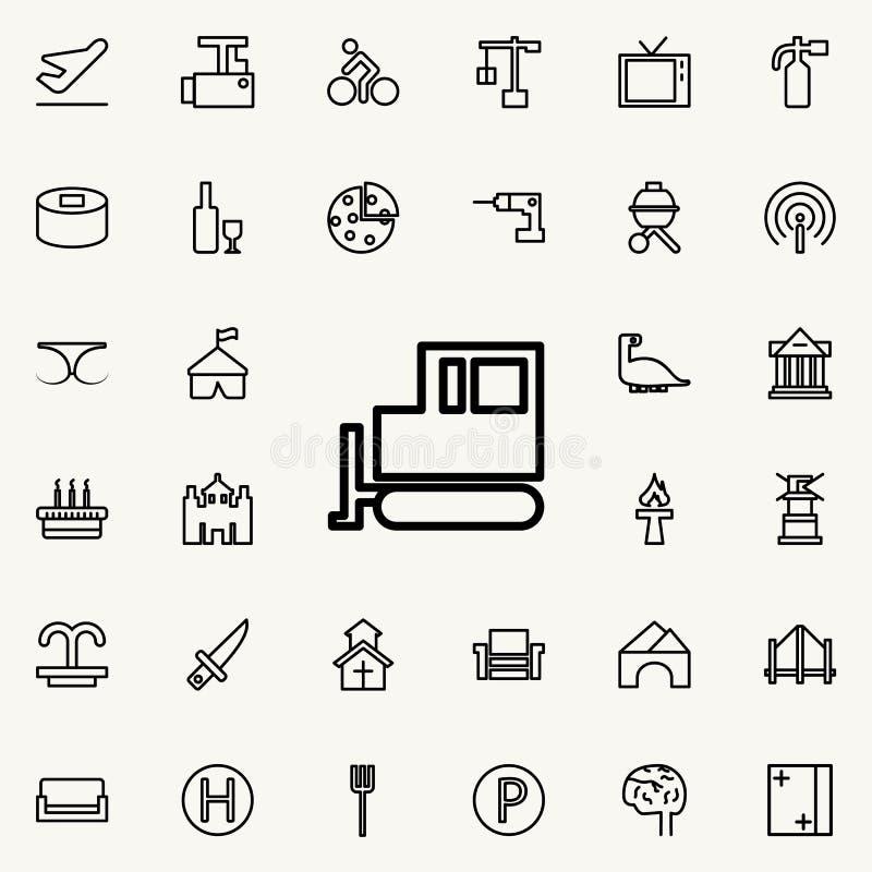 拖拉机履带牵引装置象 详细的套minimalistic线象 优质图形设计 其中一个网站的汇集象, w 向量例证