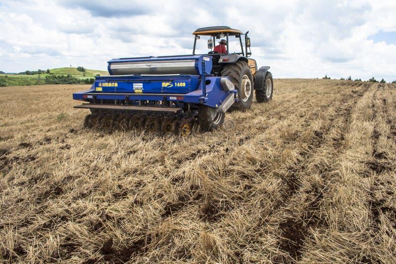 拖拉机播种庄稼的农夫在领域 库存图片