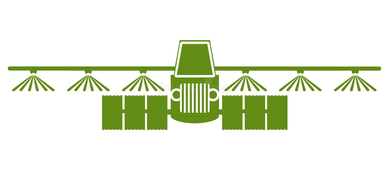 拖拉机浇灌,土壤和施肥领域象,灌溉拖拉机象–传染媒介 向量例证