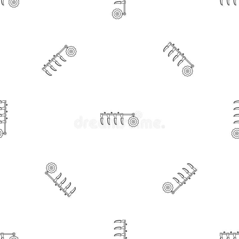 拖拉机犁样式无缝的传染媒介 库存例证