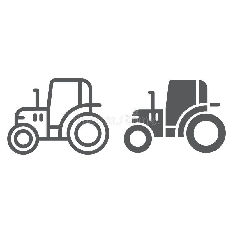 拖拉机线和纵的沟纹象、农场和农业,车标志,向量图形,在白色背景的一个线性样式 皇族释放例证