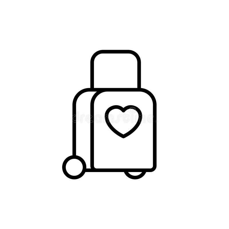 拖曳与爱象的台车袋子 蜜月假日旅行例证 简单的干净的monoline标志 向量例证