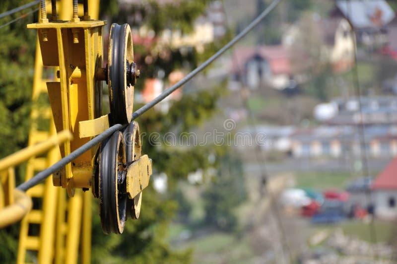 拖曳绳索细节与轮子的从空中览绳机制 免版税图库摄影