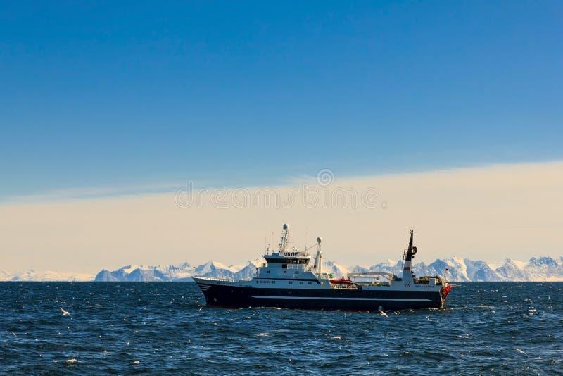 拖网渔船在鳕鱼渔场 免版税库存照片