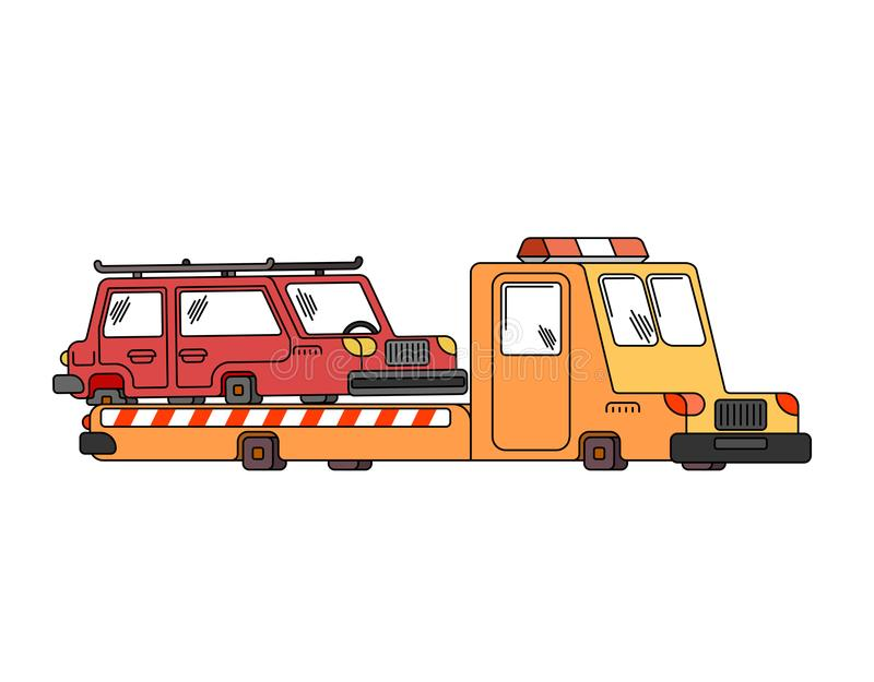 拖车和汽车 清障车撤出汽车 在路的帮助 向量 库存例证