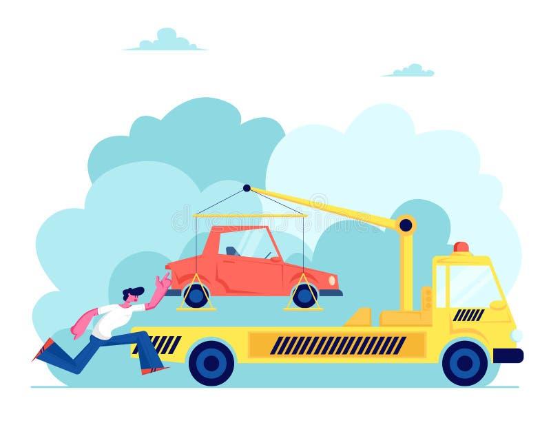 拖车拿走汽车,被注重的所有者追逐,在麻烦的司机,有起重机和发信号的撤出的运输平板车汽车 向量例证