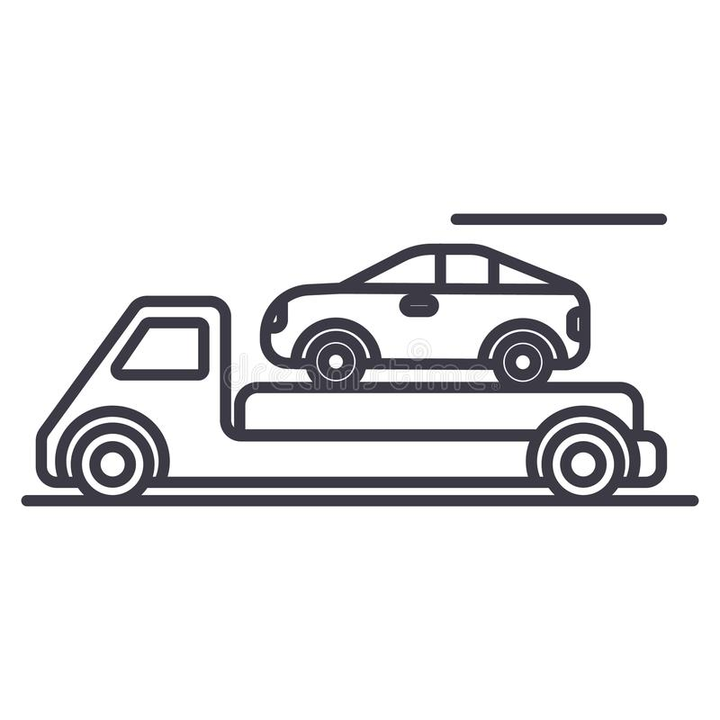 拖车,运输,汽车服务,交付传染媒介线象,标志,在背景,编辑可能的冲程的例证 皇族释放例证