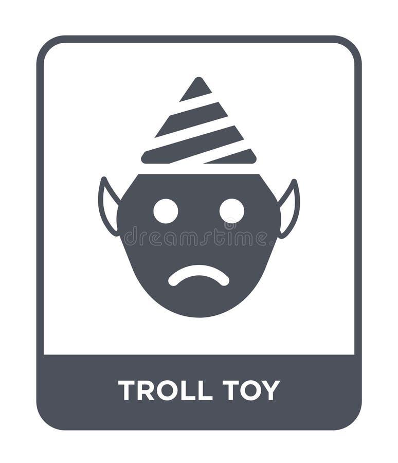 拖钓在时髦设计样式的玩具象 拖钓在白色背景隔绝的玩具象 拖钓玩具传染媒介象简单和现代舱内甲板 皇族释放例证