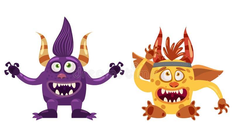 拖钓巨足兽和淘气鬼逗人喜爱的滑稽的童话字符,情感,动画片样式,书的,广告,贴纸,传染媒介 库存例证
