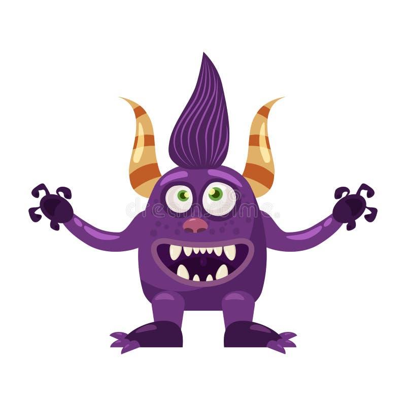 拖钓巨足兽逗人喜爱的滑稽的童话字符,情感,动画片样式,书的,广告,贴纸,传染媒介 库存例证