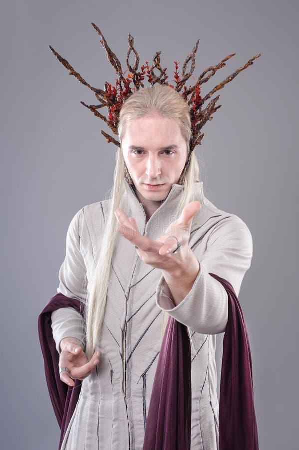 拖钓 Thranduil, Hobbit 库存图片