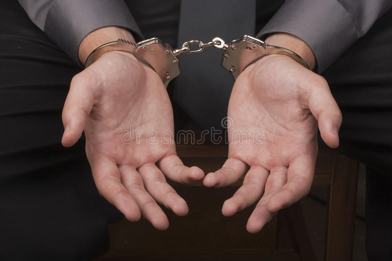 拘捕手铐 免版税库存照片