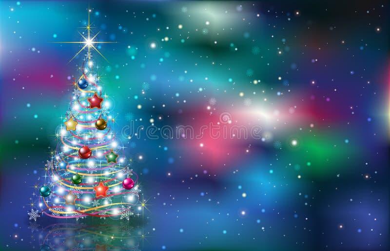 招呼与在难看的东西背景的圣诞树 免版税库存照片