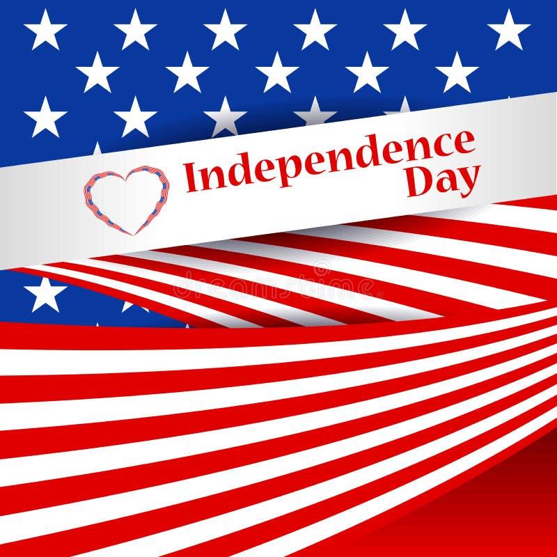 招呼与美国的旗子的爱国卡片 美国美国独立日, 7月4日 与特别对象的抽象背景 向量例证
