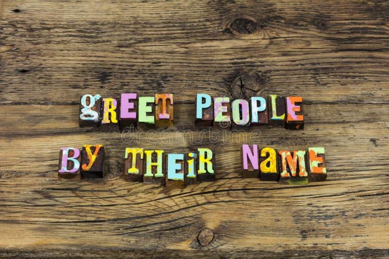 招呼人的考虑记住欢迎介绍友好的名字 库存图片